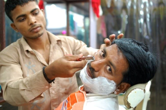 Man getting a shave
